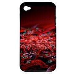 Red Fractal Valley In 3d Glass Frame Apple Iphone 4/4s Hardshell Case (pc+silicone)
