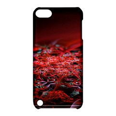 Red Fractal Valley In 3d Glass Frame Apple Ipod Touch 5 Hardshell Case With Stand