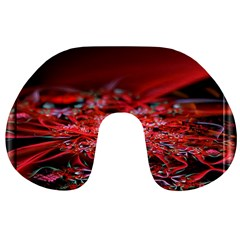 Red Fractal Valley In 3d Glass Frame Travel Neck Pillows