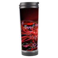 Red Fractal Valley In 3d Glass Frame Travel Tumbler