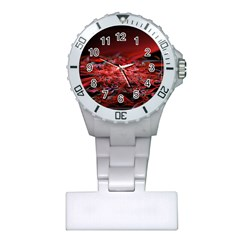 Red Fractal Valley In 3d Glass Frame Plastic Nurses Watch