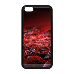 Red Fractal Valley In 3d Glass Frame Apple Iphone 5c Seamless Case (black)