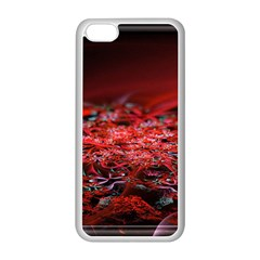 Red Fractal Valley In 3d Glass Frame Apple iPhone 5C Seamless Case (White)