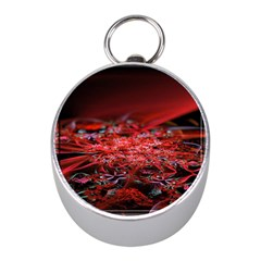 Red Fractal Valley In 3d Glass Frame Mini Silver Compasses