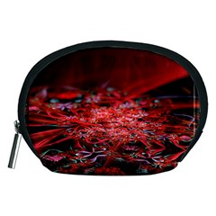 Red Fractal Valley In 3d Glass Frame Accessory Pouches (medium)