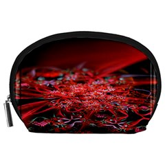 Red Fractal Valley In 3d Glass Frame Accessory Pouches (large)