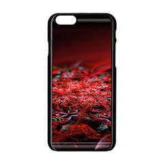 Red Fractal Valley In 3d Glass Frame Apple Iphone 6/6s Black Enamel Case