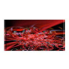 Red Fractal Valley In 3d Glass Frame Satin Wrap