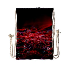 Red Fractal Valley In 3d Glass Frame Drawstring Bag (small)