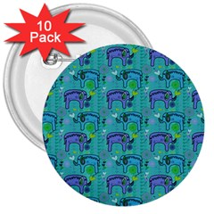 Elephants Animals Pattern 3  Buttons (10 Pack)