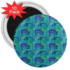 Elephants Animals Pattern 3  Magnets (10 Pack)