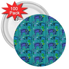 Elephants Animals Pattern 3  Buttons (100 pack)