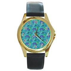 Elephants Animals Pattern Round Gold Metal Watch