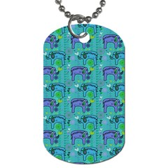 Elephants Animals Pattern Dog Tag (Two Sides)