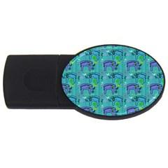 Elephants Animals Pattern USB Flash Drive Oval (2 GB)