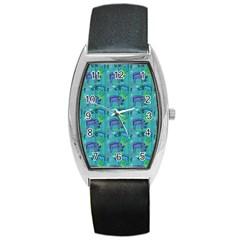 Elephants Animals Pattern Barrel Style Metal Watch