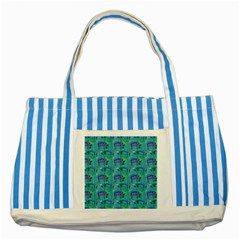 Elephants Animals Pattern Striped Blue Tote Bag