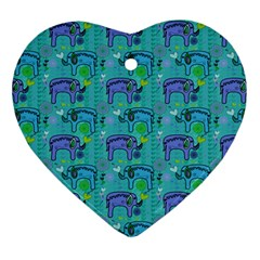 Elephants Animals Pattern Heart Ornament (Two Sides)