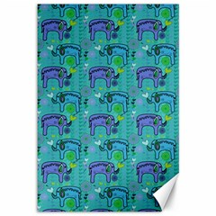 Elephants Animals Pattern Canvas 12  x 18
