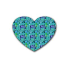 Elephants Animals Pattern Rubber Coaster (heart)