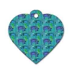 Elephants Animals Pattern Dog Tag Heart (One Side)