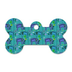 Elephants Animals Pattern Dog Tag Bone (one Side)