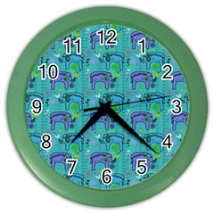 Elephants Animals Pattern Color Wall Clocks