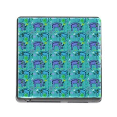 Elephants Animals Pattern Memory Card Reader (Square)