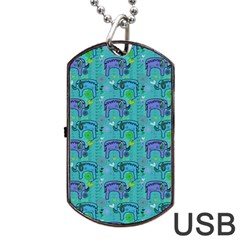 Elephants Animals Pattern Dog Tag Usb Flash (two Sides)