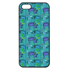 Elephants Animals Pattern Apple Iphone 5 Seamless Case (black)