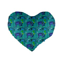 Elephants Animals Pattern Standard 16  Premium Heart Shape Cushions