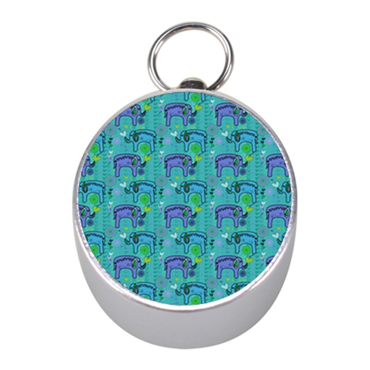 Elephants Animals Pattern Mini Silver Compasses