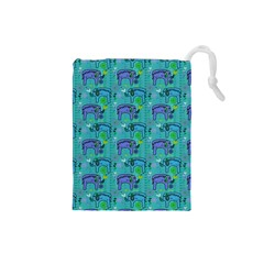 Elephants Animals Pattern Drawstring Pouches (small)