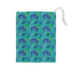 Elephants Animals Pattern Drawstring Pouches (large)