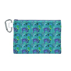 Elephants Animals Pattern Canvas Cosmetic Bag (M)