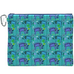 Elephants Animals Pattern Canvas Cosmetic Bag (XXXL)