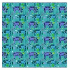 Elephants Animals Pattern Large Satin Scarf (square)