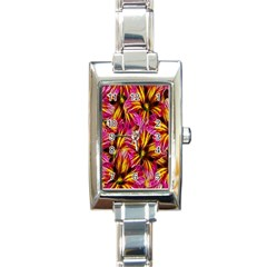 Floral Pattern Background Seamless Rectangle Italian Charm Watch