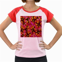 Floral Pattern Background Seamless Women s Cap Sleeve T Shirt