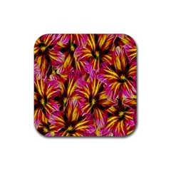 Floral Pattern Background Seamless Rubber Square Coaster (4 pack)