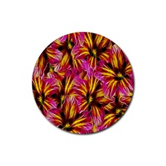 Floral Pattern Background Seamless Rubber Round Coaster (4 Pack)