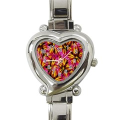 Floral Pattern Background Seamless Heart Italian Charm Watch