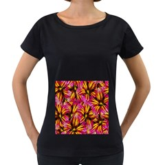 Floral Pattern Background Seamless Women s Loose Fit T Shirt (black)
