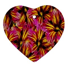 Floral Pattern Background Seamless Heart Ornament (two Sides)