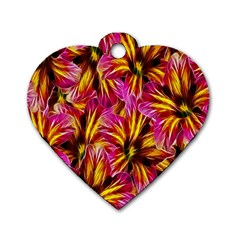 Floral Pattern Background Seamless Dog Tag Heart (One Side)
