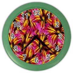Floral Pattern Background Seamless Color Wall Clocks