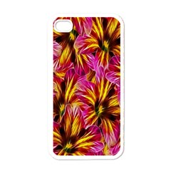 Floral Pattern Background Seamless Apple iPhone 4 Case (White)