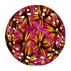 Floral Pattern Background Seamless Round Filigree Ornament (Two Sides)