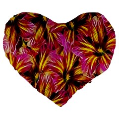 Floral Pattern Background Seamless Large 19  Premium Heart Shape Cushions