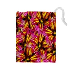 Floral Pattern Background Seamless Drawstring Pouches (Large)